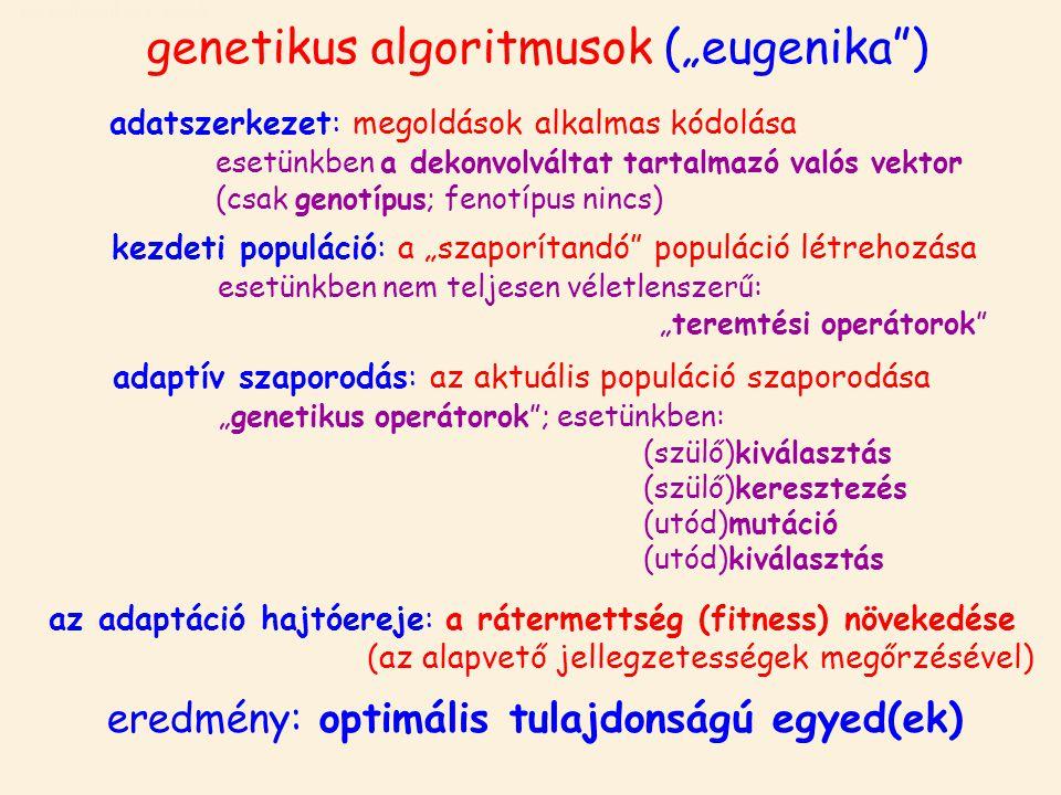 """genetikus algoritmusok genetikus algoritmusok (""""eugenika ) adatszerkezet: megoldások alkalmas kódolása esetünkben a dekonvolváltat tartalmazó valós vektor (csak genotípus; fenotípus nincs) eredmény: optimális tulajdonságú egyed(ek) kezdeti populáció: a """"szaporítandó populáció létrehozása esetünkben nem teljesen véletlenszerű: """"teremtési operátorok adaptív szaporodás: az aktuális populáció szaporodása """"genetikus operátorok ; esetünkben: (szülő)kiválasztás (szülő)keresztezés (utód)mutáció (utód)kiválasztás az adaptáció hajtóereje: a rátermettség (fitness) növekedése (az alapvető jellegzetességek megőrzésével)"""