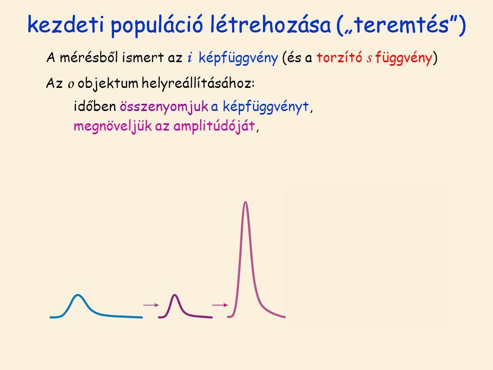 """kezdeti populáció létrehozása (""""teremtés ) A mérésből ismert az i képfüggvény (és a torzító s függvény) Az o objektum helyreállításához: időben összenyomjuk a képfüggvényt, megnöveljük az amplitúdóját,"""