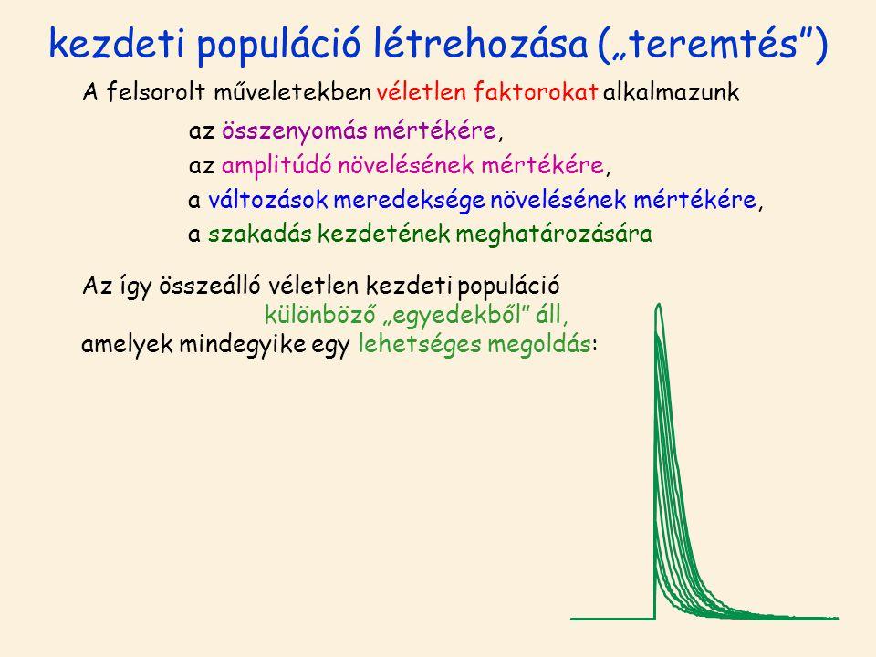 """kezdeti populáció létrehozása (""""teremtés"""") A felsorolt műveletekben véletlen faktorokat alkalmazunk az összenyomás mértékére, az amplitúdó növelésének"""
