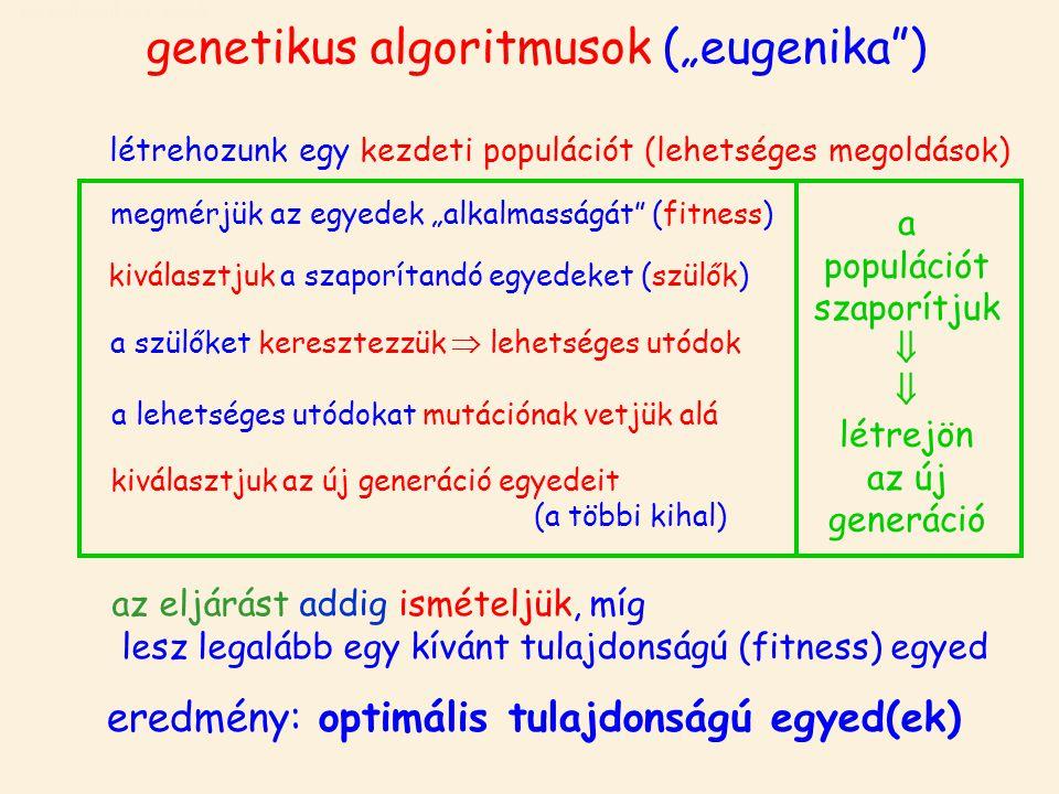 """genetikus algoritmusok genetikus algoritmusok (""""eugenika ) létrehozunk egy kezdeti populációt (lehetséges megoldások) megmérjük az egyedek """"alkalmasságát (fitness) kiválasztjuk a szaporítandó egyedeket (szülők) a szülőket keresztezzük  lehetséges utódok a lehetséges utódokat mutációnak vetjük alá kiválasztjuk az új generáció egyedeit (a többi kihal) az eljárást addig ismételjük, míg lesz legalább egy kívánt tulajdonságú (fitness) egyed eredmény: optimális tulajdonságú egyed(ek) a populációt szaporítjuk   létrejön az új generáció"""