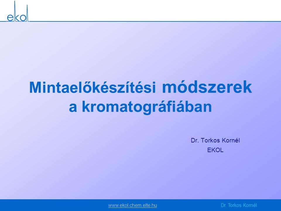 www.ekol.chem.elte.huwww.ekol.chem.elte.huDr. Torkos Kornél Mintaelőkészítési módszerek a kromatográfiában Dr. Torkos Kornél EKOL