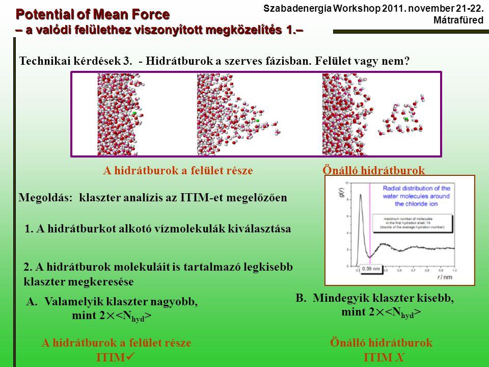 Potential of Mean Force – a valódi felülethez viszonyított megközelítés 1.– Technikai kérdések 3. - Hidrátburok a szerves fázisban. Felület vagy nem?