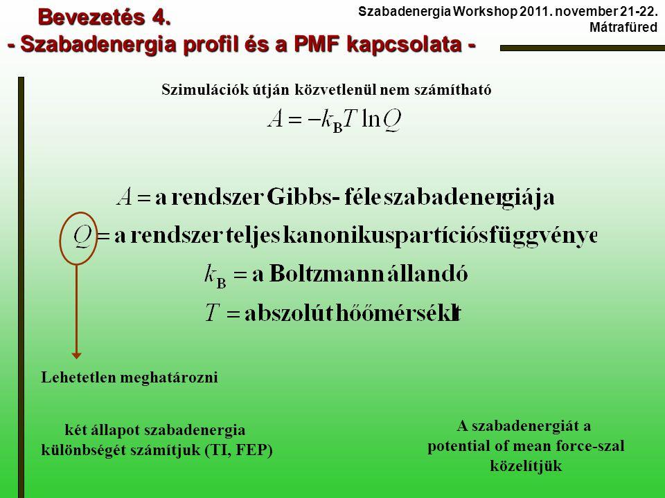 Bevezetés 4. - Szabadenergia profil és a PMF kapcsolata - Bevezetés 4. - Szabadenergia profil és a PMF kapcsolata - Lehetetlen meghatározni Szimuláció