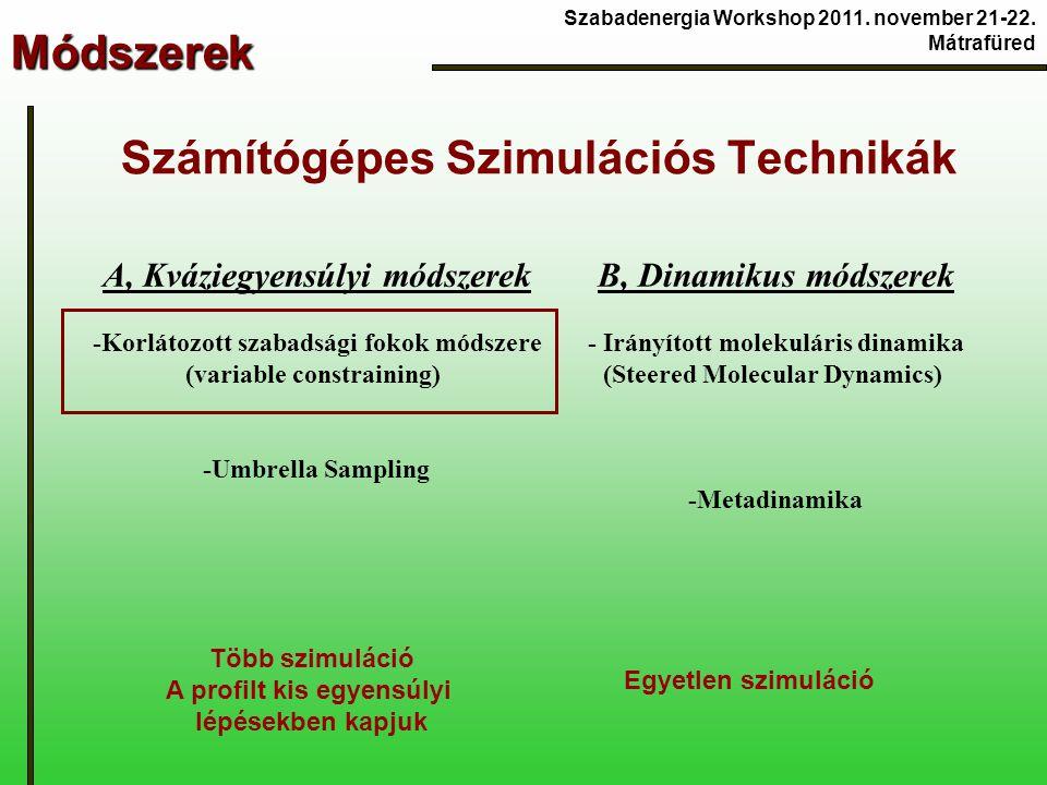 Módszerek Számítógépes Szimulációs Technikák A, Kváziegyensúlyi módszerek -Korlátozott szabadsági fokok módszere (variable constraining) -Umbrella Sampling B, Dinamikus módszerek - Irányított molekuláris dinamika (Steered Molecular Dynamics) -Metadinamika Több szimuláció A profilt kis egyensúlyi lépésekben kapjuk Egyetlen szimuláció Szabadenergia Workshop 2011.