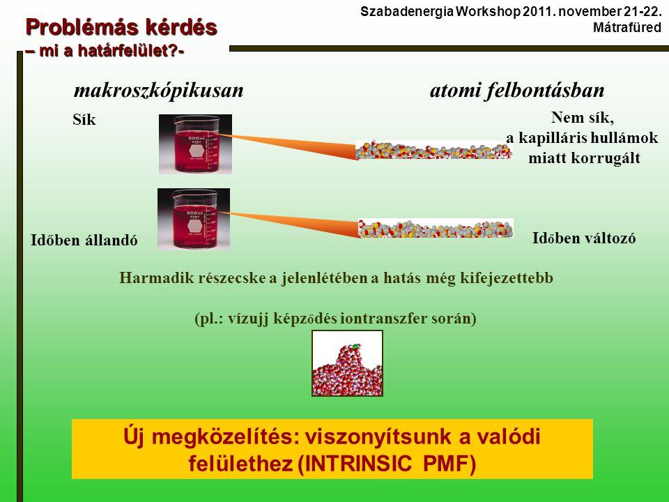 Problémás kérdés – mi a határfelület - makroszkópikusan atomi felbontásban Harmadik részecske a jelenlétében a hatás még kifejezettebb (pl.: vízujj képz ő dés iontranszfer során) Új megközelítés: viszonyítsunk a valódi felülethez (INTRINSIC PMF) Nem sík, a kapilláris hullámok miatt korrugált Id ő ben változó Sík Időben állandó Szabadenergia Workshop 2011.