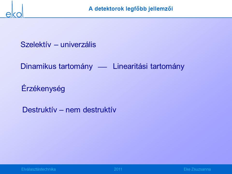 Elválasztástechnika2011Eke Zsuzsanna A detektorok legfőbb jellemzői Destruktív – nem destruktív Szelektív – univerzális Érzékenység Linearitási tartományDinamikus tartomány