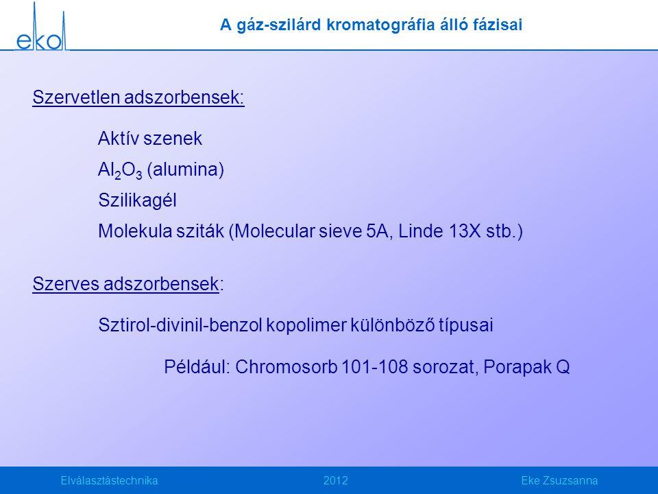 Elválasztástechnika2012Eke Zsuzsanna A gáz-szilárd kromatográfia álló fázisai Szervetlen adszorbensek: Aktív szenek Al 2 O 3 (alumina) Szilikagél Molekula sziták (Molecular sieve 5A, Linde 13X stb.) Szerves adszorbensek: Sztirol-divinil-benzol kopolimer különböző típusai Például: Chromosorb 101-108 sorozat, Porapak Q