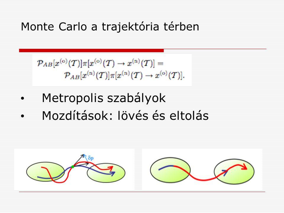 Monte Carlo a trajektória térben Metropolis szabályok Mozdítások: lövés és eltolás