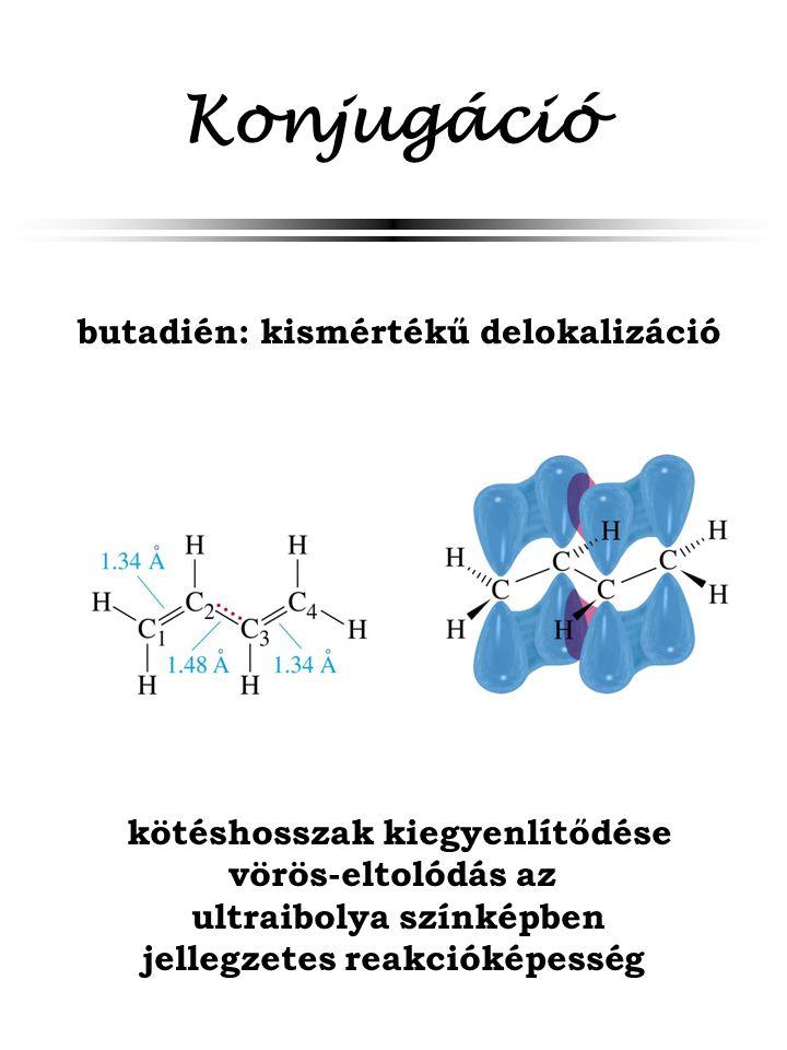 Konjugáció butadién: kismértékű delokalizáció kötéshosszak kiegyenlítődése vörös-eltolódás az ultraibolya színképben jellegzetes reakcióképesség