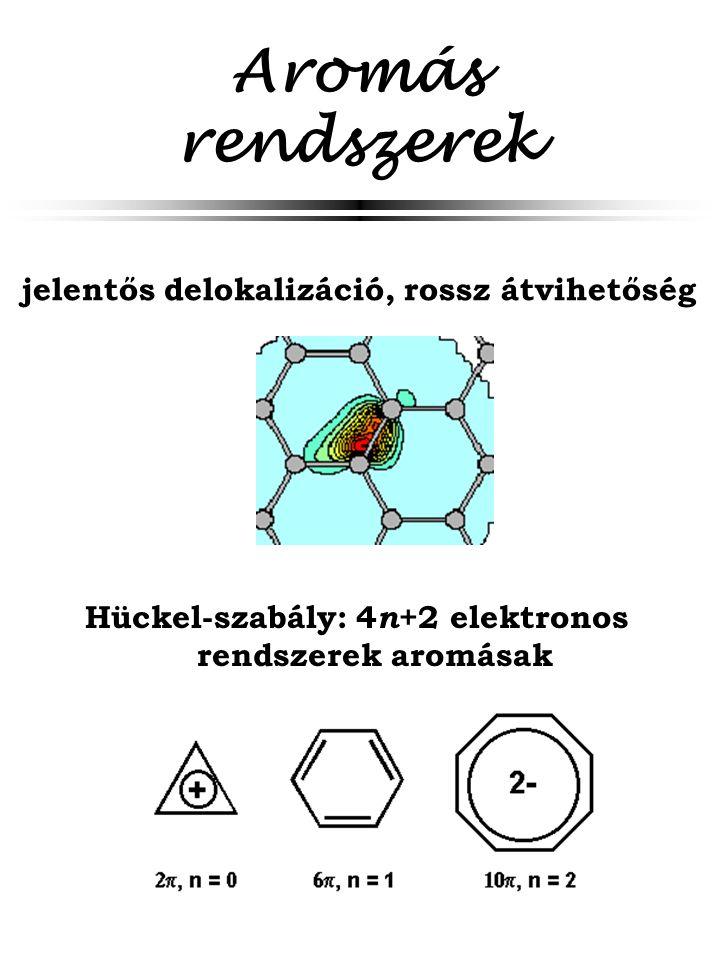 Aromás rendszerek Hückel-szabály: 4 n +2 elektronos rendszerek aromásak jelentős delokalizáció, rossz átvihetőség