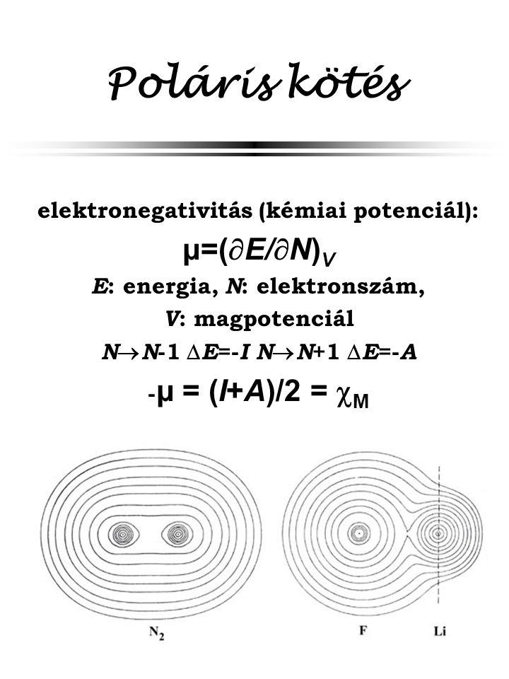 Poláris kötés elektronegativitás (kémiai potenciál): μ=(  E/  N) V E : energia, N : elektronszám, V : magpotenciál N  N -1  E =- I N  N +1  E =-