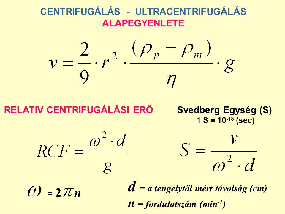 CENTRIFUGÁLÁS - ULTRACENTRIFUGÁLÁS ALAPEGYENLETE RELATIV CENTRIFUGÁLÁSI ERŐSvedberg Egység (S) 1 S = 10 -13 (sec) = 2 n d = a tengelytől mért távolság