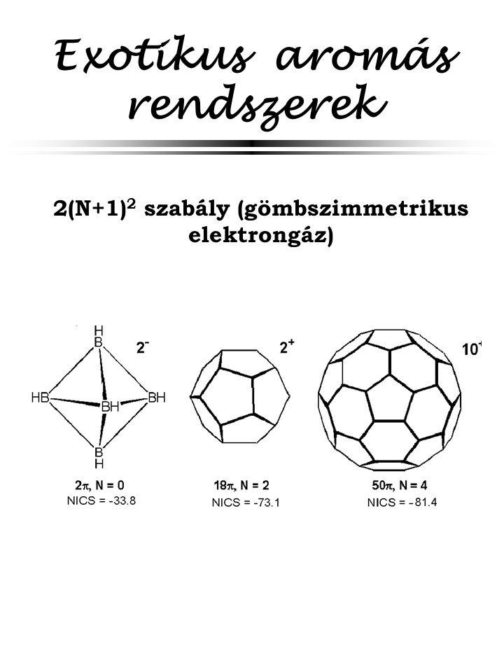 Exotikus aromás rendszerek 2(N+1) 2 szabály (gömbszimmetrikus elektrongáz)