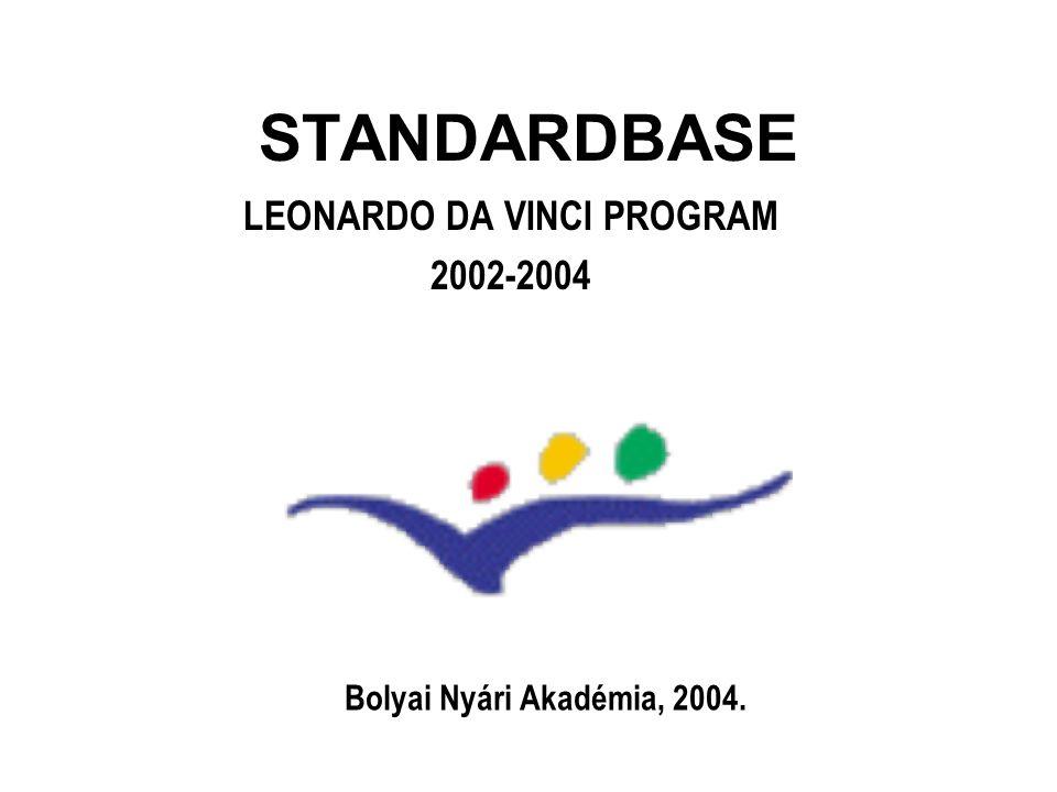 STANDARDBASE a minőségbiztosítás szerepe egyre nő az ipari és kereskedelmi standard analitikai eljárások nemzetközileg elfogadottak és egységesek lesznek a jövendő labratóriumi alkalmazottaknak tisztában kell lenniük ezekkel az eljárásokkal a vegyipari szakképzés tematikáját nemzetközileg egységessé kell tenni a nemzetközi kémiai diákolimpia és a Grand Prix Chimique feladataihoz hasonlóakat célszerű nemzetközileg is hozzáférhetővé tenni