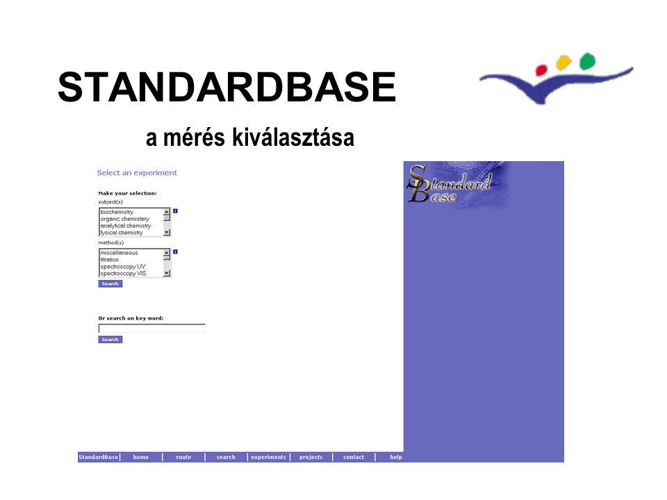STANDARDBASE a mérés kiválasztása