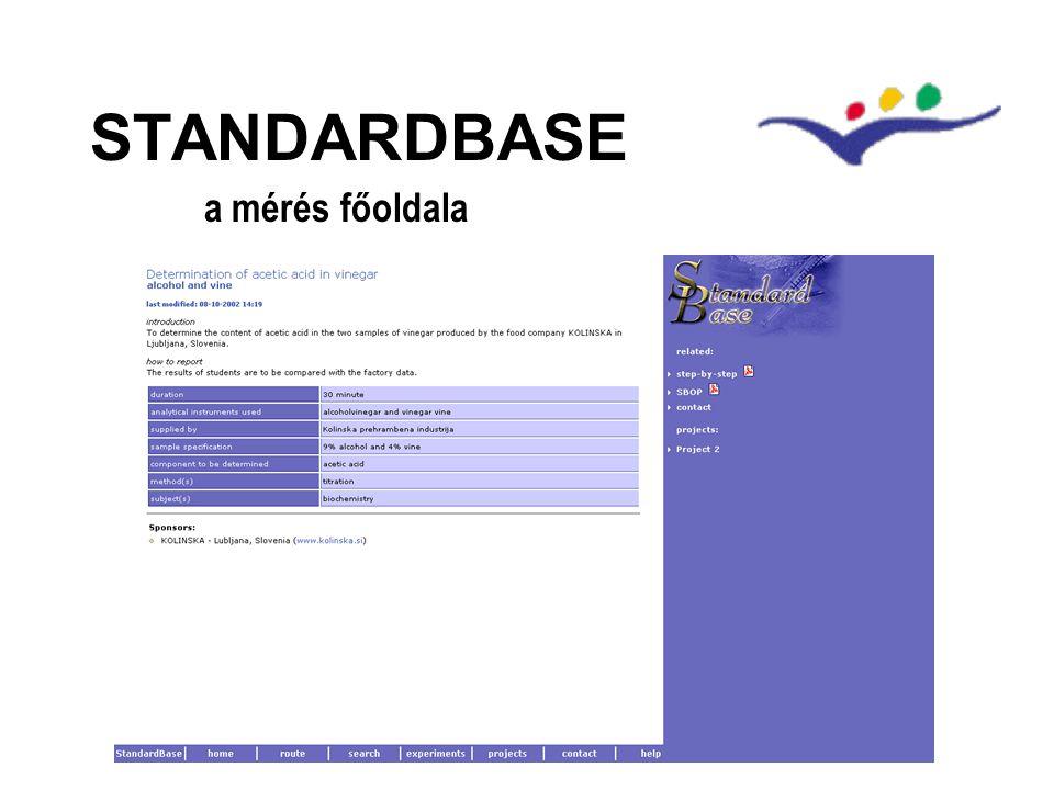 STANDARDBASE a mérés főoldala