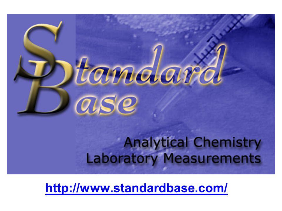 STANDARDBASE Néhány jellemző mérés minta KOH KI C-vitamin NaCl vajban vas(II)-szulfát mohairtószerben riboflavin (B 2 -vitamin) acetilszalicilsav módszer sav-bázis titrálás jodometria potenciometria argetometria redoxi titrálás spektrofotometria HPLC