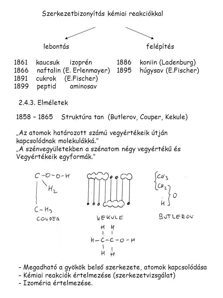 Szerkezetbizonyítás kémiai reakciókkal lebontás 1861 kaucsuk izoprén 1866 naftalin (E. Erlenmayer) 1891 cukrok (E.Fischer) 1899 peptid aminosav felépí