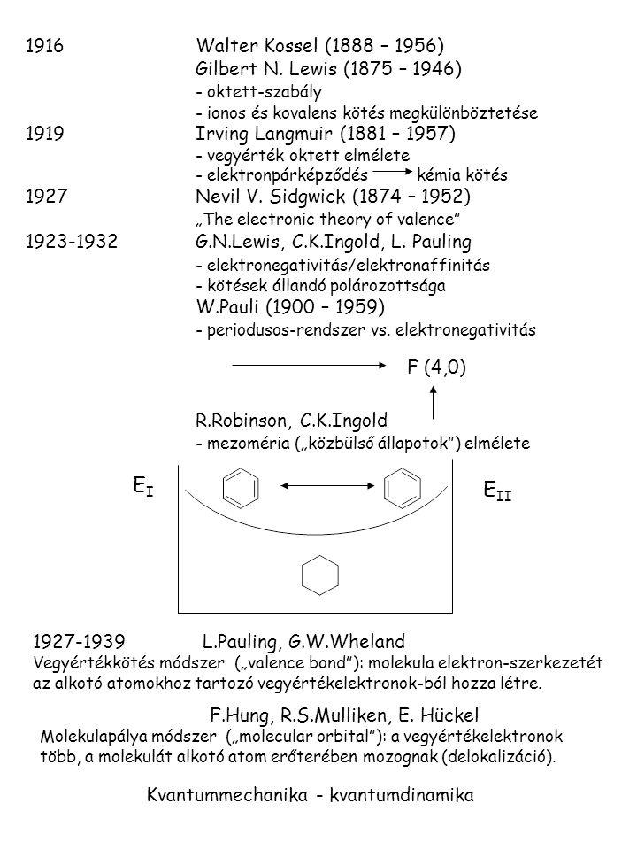 1916Walter Kossel (1888 – 1956) Gilbert N. Lewis (1875 – 1946) - oktett-szabály - ionos és kovalens kötés megkülönböztetése 1919Irving Langmuir (1881