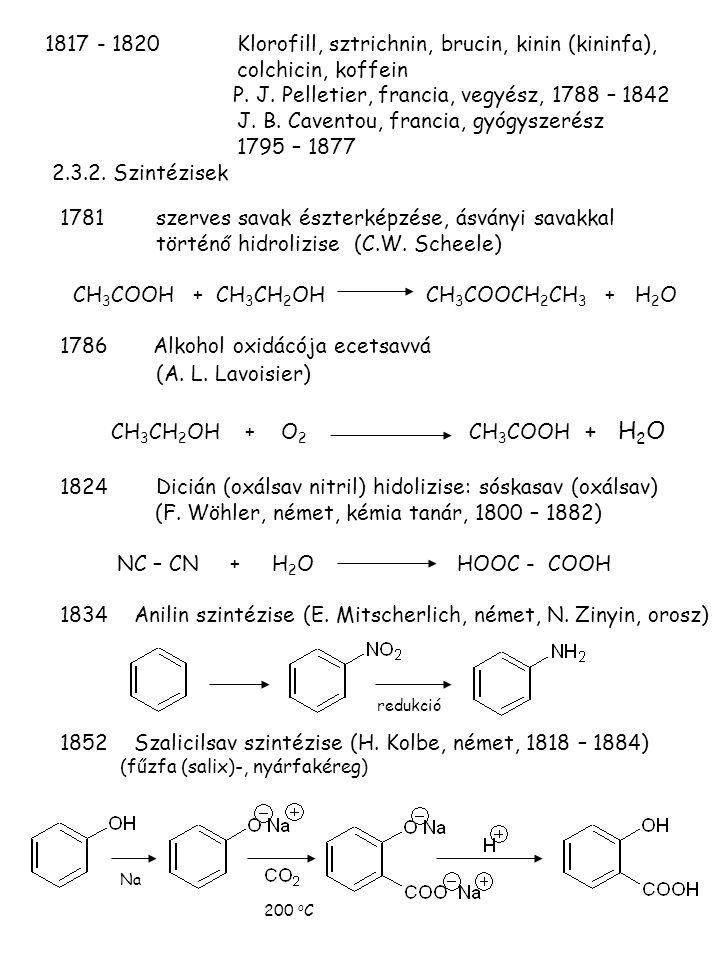 1817 - 1820Klorofill, sztrichnin, brucin, kinin (kininfa), colchicin, koffein P. J. Pelletier, francia, vegyész, 1788 – 1842 J. B. Caventou, francia,