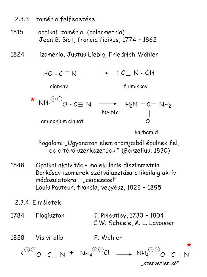 2.3.3. Izoméria felfedezése 1815optikai izoméria (polarmetria) Jean B. Biot, francia fizikus, 1774 – 1862 1824 izoméria, Justus Liebig, Friedrich Wöhl