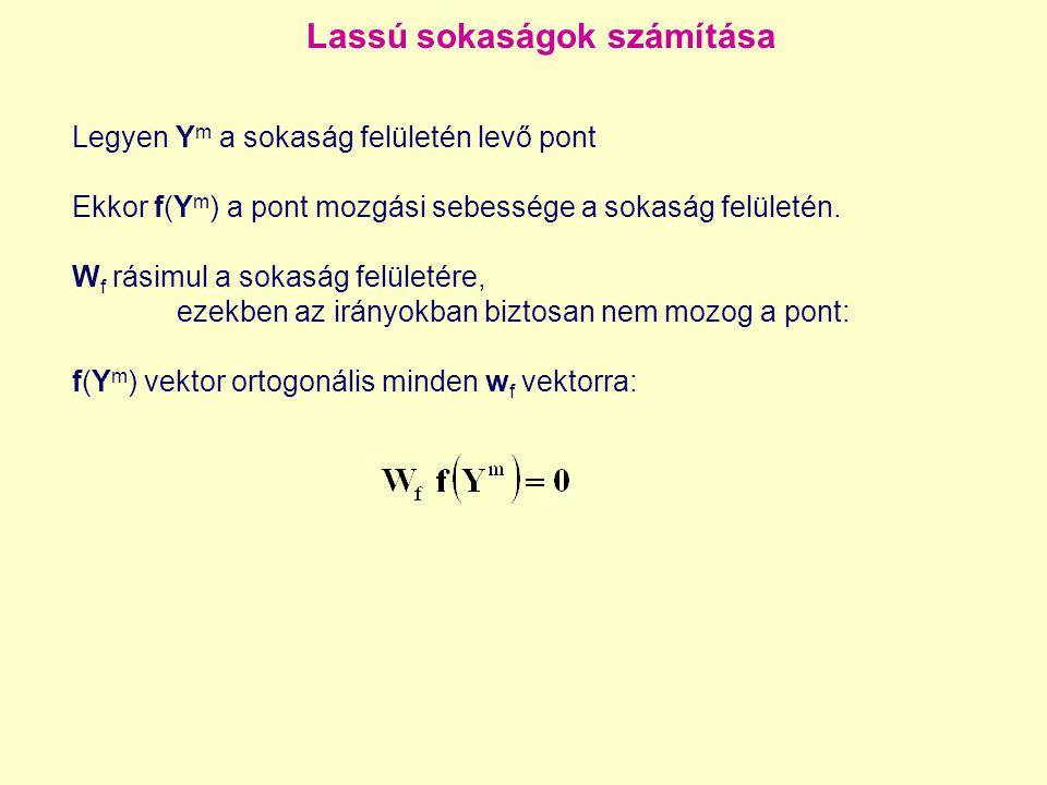 Lassú sokaságok számítása Legyen Y m a sokaság felületén levő pont Ekkor f(Y m ) a pont mozgási sebessége a sokaság felületén.
