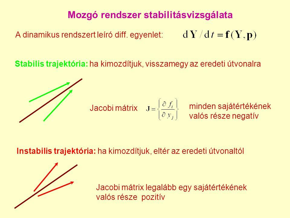 Mozgó rendszer stabilitásvizsgálata Stabilis trajektória: ha kimozdítjuk, visszamegy az eredeti útvonalra A dinamikus rendszert leíró diff.