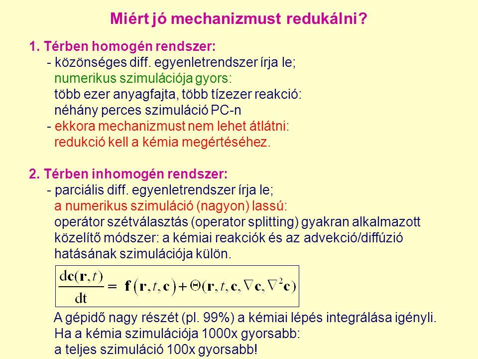 Miért jó mechanizmust redukálni. 1. Térben homogén rendszer: - közönséges diff.