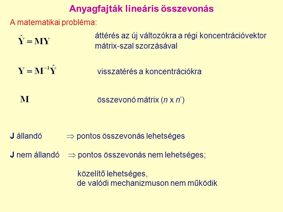 Anyagfajták lineáris összevonás J állandó  pontos összevonás lehetséges J nem állandó  pontos összevonás nem lehetséges; közelítő lehetséges, de valódi mechanizmuson nem működik A matematikai probléma: áttérés az új változókra a régi koncentrációvektor mátrix-szal szorzásával visszatérés a koncentrációkra összevonó mátrix (n x n')
