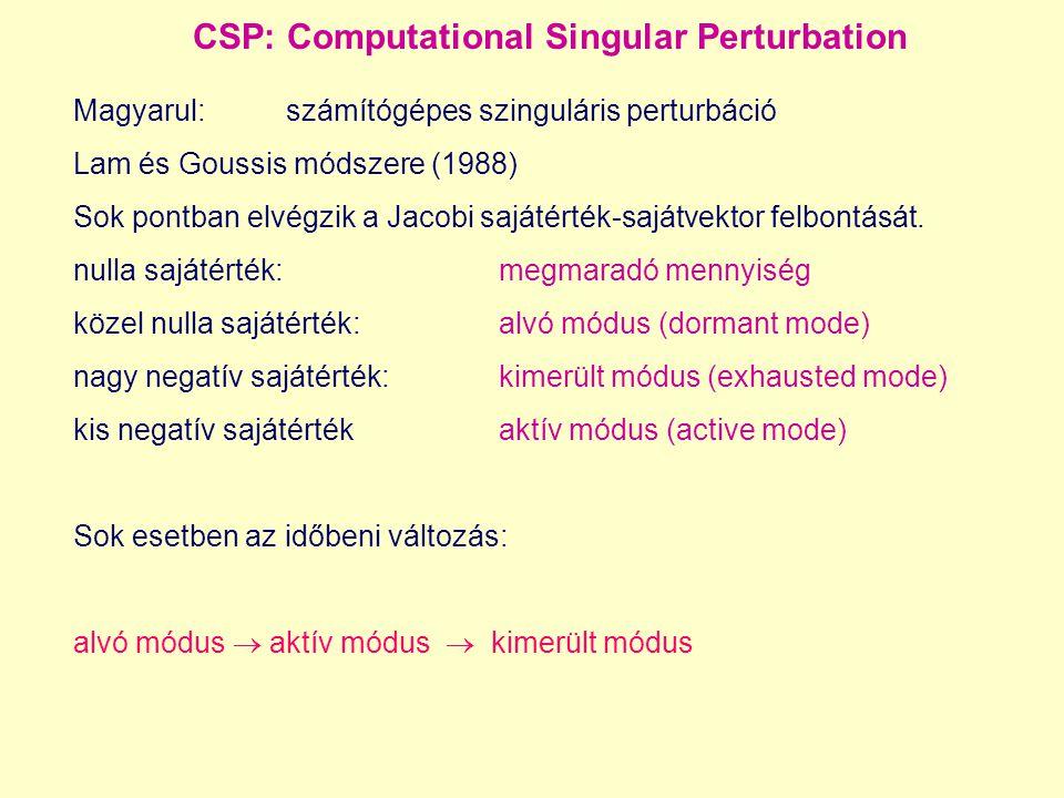 CSP: Computational Singular Perturbation Magyarul:számítógépes szinguláris perturbáció Lam és Goussis módszere (1988) Sok pontban elvégzik a Jacobi sajátérték-sajátvektor felbontását.