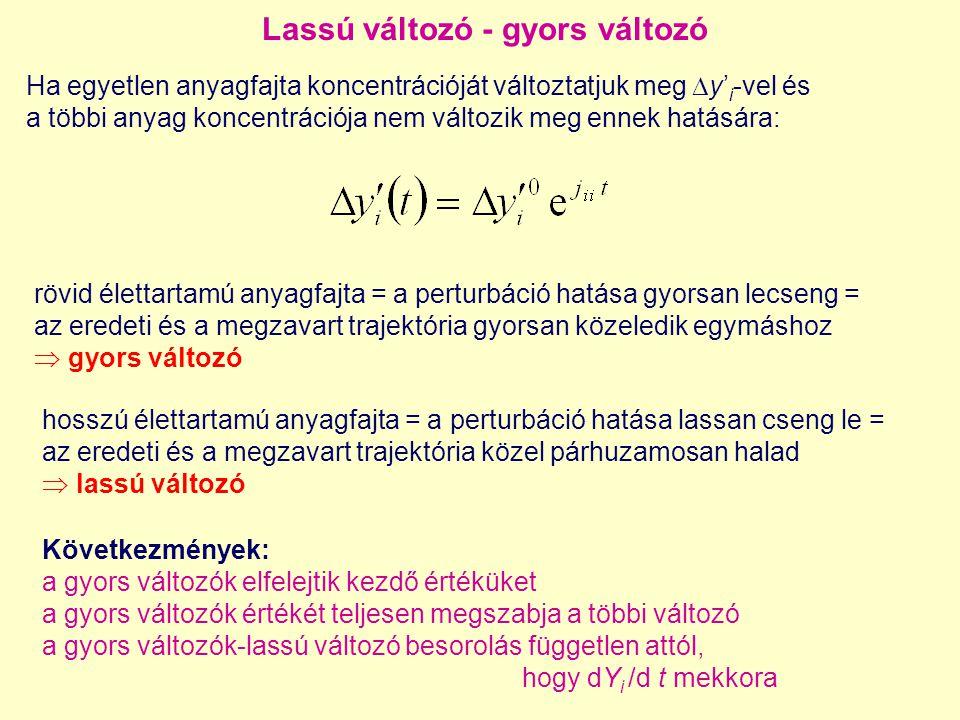 A sokaság dimenziója  az S mátrix rangja – bizonyítás differenciálszámítással Az nD sokaság egyenlete: Y 1, Y 2,..., Y n a paraméterező változók F i az i-edik változó értéke z a független változó (pl.