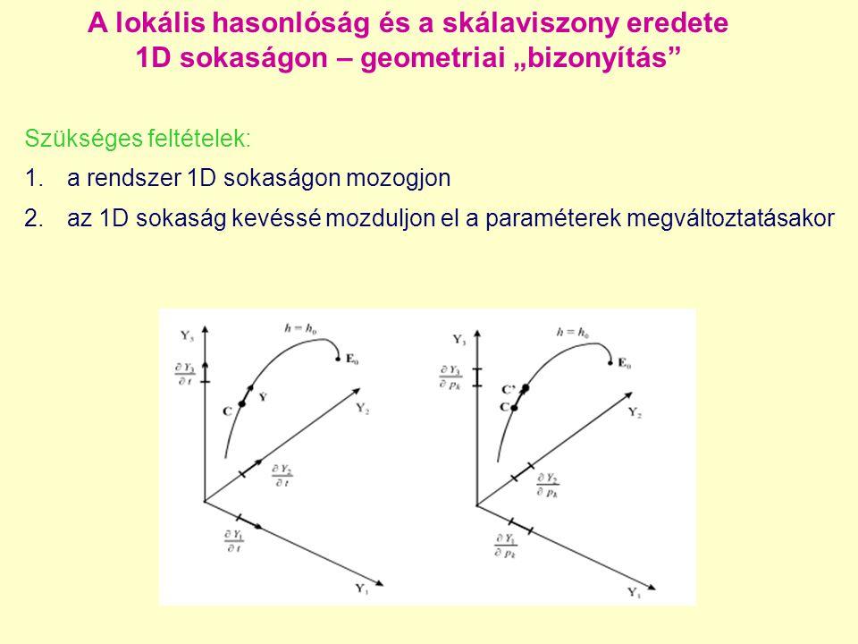 """A lokális hasonlóság és a skálaviszony eredete 1D sokaságon – geometriai """"bizonyítás Szükséges feltételek: 1.a rendszer 1D sokaságon mozogjon 2.az 1D sokaság kevéssé mozduljon el a paraméterek megváltoztatásakor"""