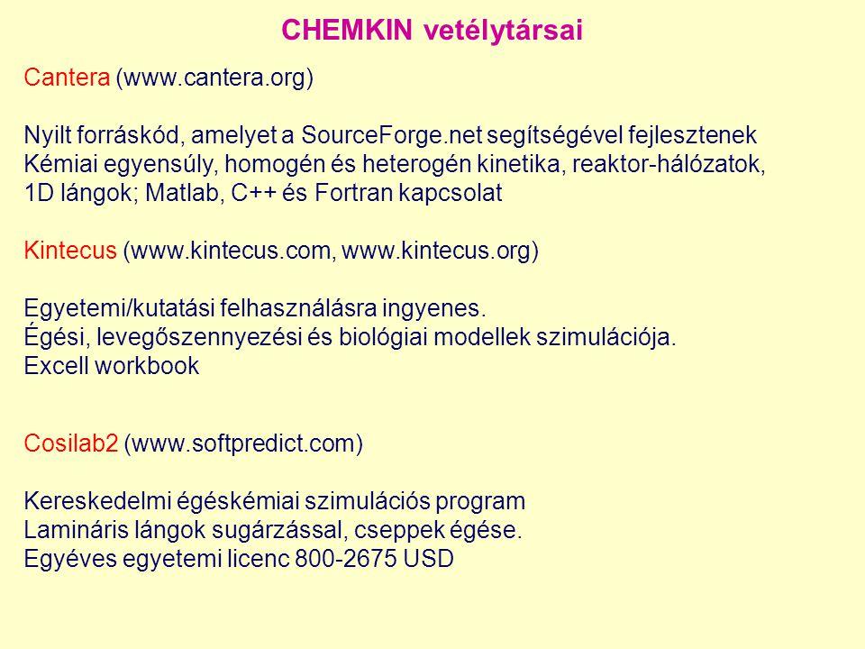 Cantera (www.cantera.org) Nyilt forráskód, amelyet a SourceForge.net segítségével fejlesztenek Kémiai egyensúly, homogén és heterogén kinetika, reaktor-hálózatok, 1D lángok; Matlab, C++ és Fortran kapcsolat Kintecus (www.kintecus.com, www.kintecus.org) Egyetemi/kutatási felhasználásra ingyenes.