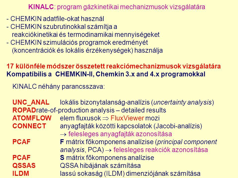 KINALC: program gázkinetikai mechanizmusok vizsgálatára - CHEMKIN adatfile-okat használ - CHEMKIN szubrutinokkal számítja a reakciókinetikai és termodinamikai mennyiségeket - CHEMKIN szimulációs programok eredményét (koncentrációk és lokális érzékenységek) használja 17 különféle módszer összetett reakciómechanizmusok vizsgálatára Kompatíbilis a CHEMKIN-II, Chemkin 3.x and 4.x programokkal KINALC néhány parancsszava: UNC_ANALlokális bizonytalanság-analízis (uncertainty analysis) ROPADrate-of-production analysis – detailed results ATOMFLOWelem fluxusok  FluxViewer mozi CONNECTanyagfajták közötti kapcsolatok (Jacobi-analízis)  felesleges anyagfajták azonosítása PCAFF mátrix főkomponens analízise (principal component analysis, PCA)  felesleges reakciók azonosítása PCAFS mátrix főkomponens analízise QSSASQSSA hibájának számítása ILDMlassú sokaság (ILDM) dimenziójának számítása