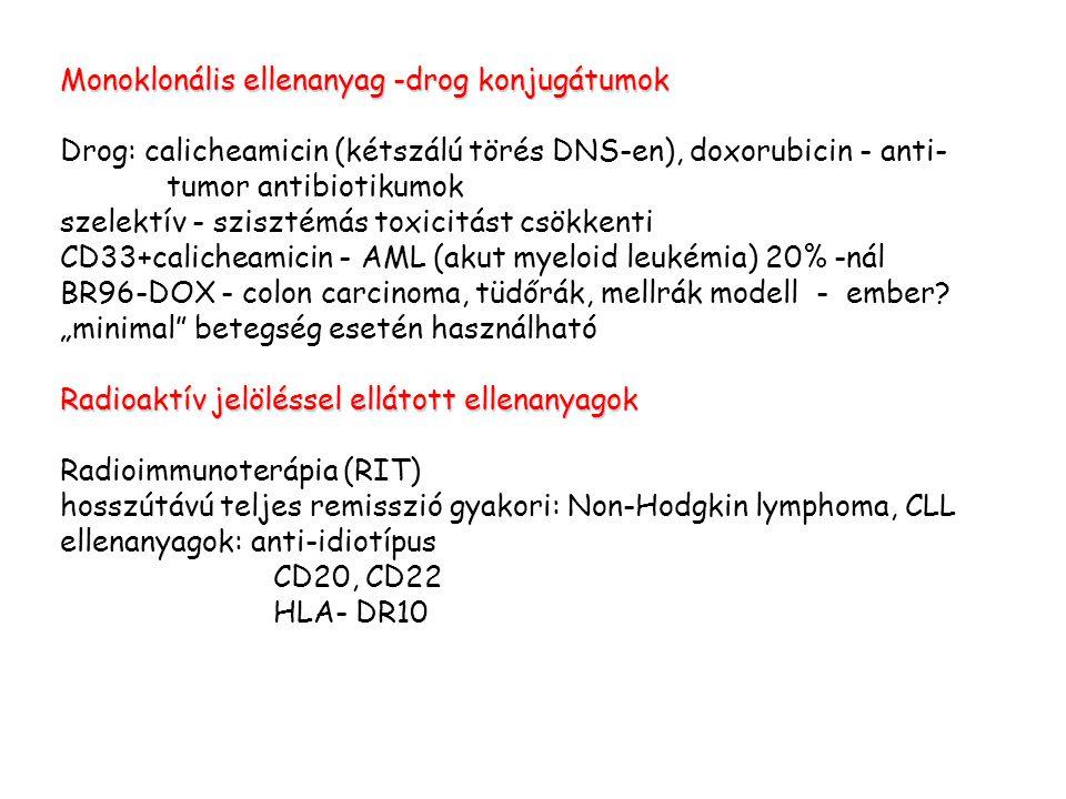 Monoklonális ellenanyag -drog konjugátumok Drog: calicheamicin (kétszálú törés DNS-en), doxorubicin - anti- tumor antibiotikumok szelektív - szisztémá