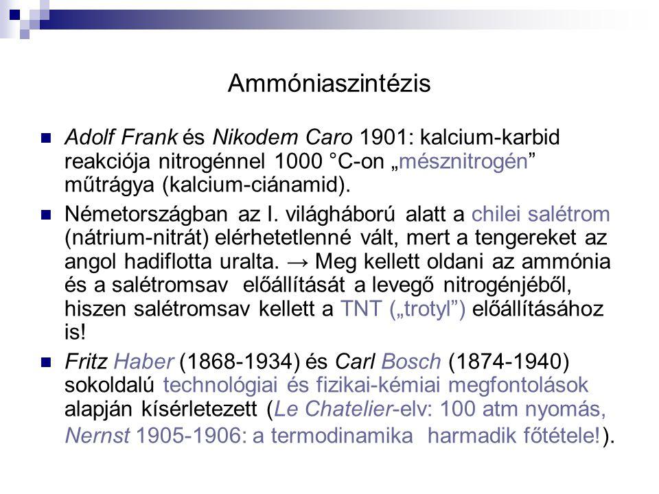 """Ammóniaszintézis Adolf Frank és Nikodem Caro 1901: kalcium-karbid reakciója nitrogénnel 1000 °C-on """"mésznitrogén"""" műtrágya (kalcium-ciánamid). Németor"""