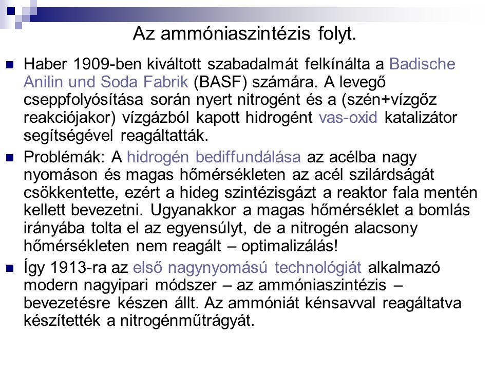 Az ammóniaszintézis folyt. Haber 1909-ben kiváltott szabadalmát felkínálta a Badische Anilin und Soda Fabrik (BASF) számára. A levegő cseppfolyósítása