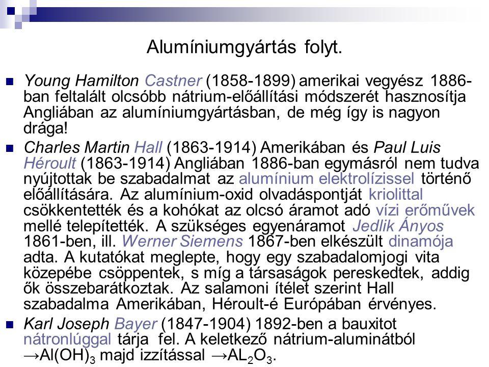 Alumíniumgyártás folyt. Young Hamilton Castner (1858-1899) amerikai vegyész 1886- ban feltalált olcsóbb nátrium-előállítási módszerét hasznosítja Angl