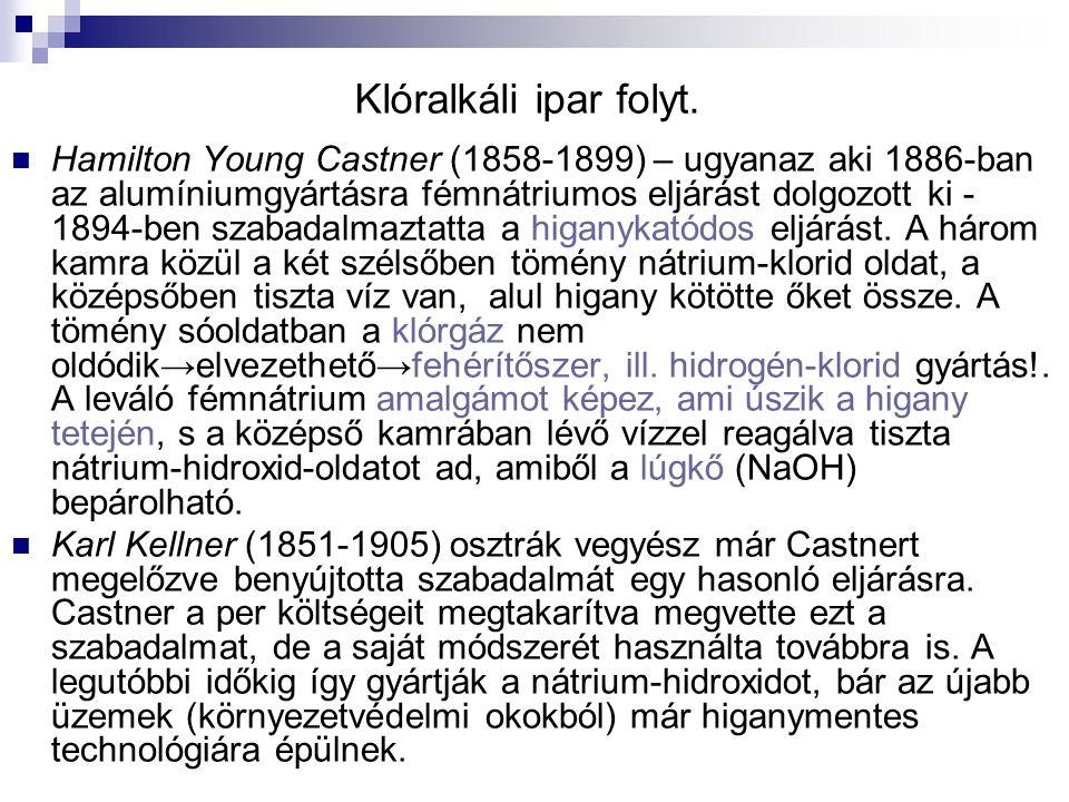 Klóralkáli ipar folyt. Hamilton Young Castner (1858-1899) – ugyanaz aki 1886-ban az alumíniumgyártásra fémnátriumos eljárást dolgozott ki - 1894-ben s