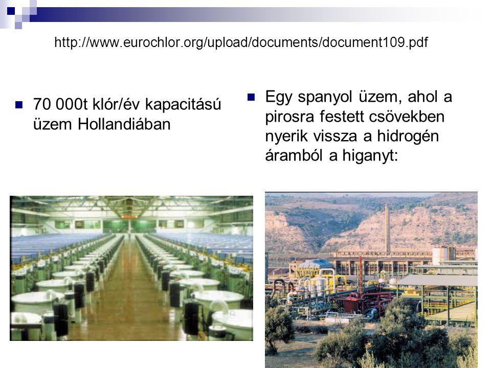 http://www.eurochlor.org/upload/documents/document109.pdf 70 000t klór/év kapacitású üzem Hollandiában Egy spanyol üzem, ahol a pirosra festett csövek