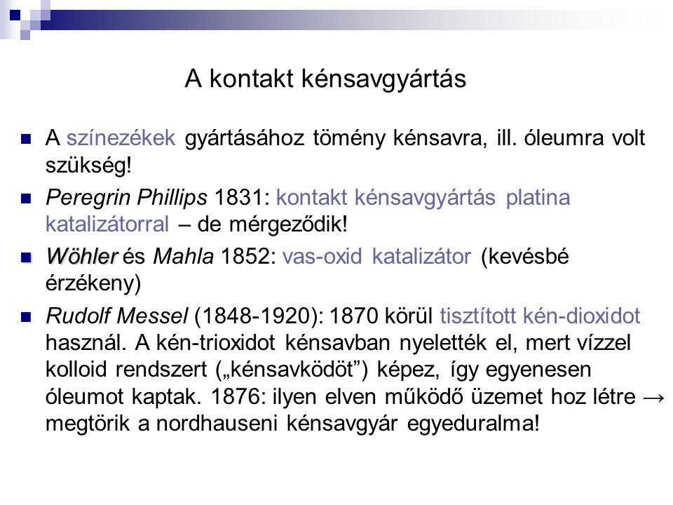 A kontakt kénsavgyártás A színezékek gyártásához tömény kénsavra, ill. óleumra volt szükség! Peregrin Phillips 1831: kontakt kénsavgyártás platina kat