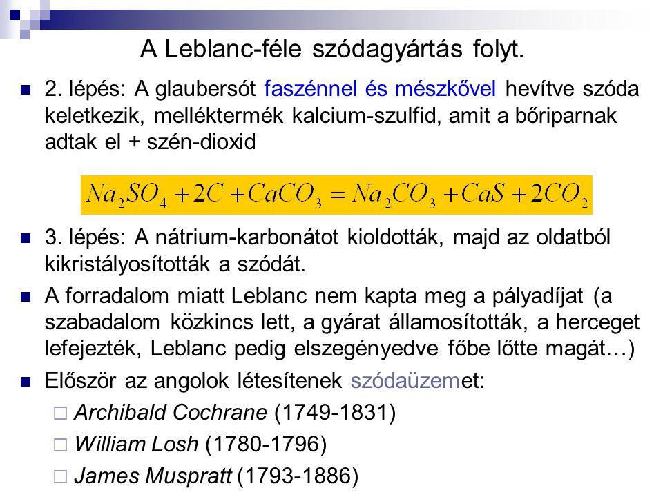 A Leblanc-féle szódagyártás folyt. 2. lépés: A glaubersót faszénnel és mészkővel hevítve szóda keletkezik, melléktermék kalcium-szulfid, amit a bőripa