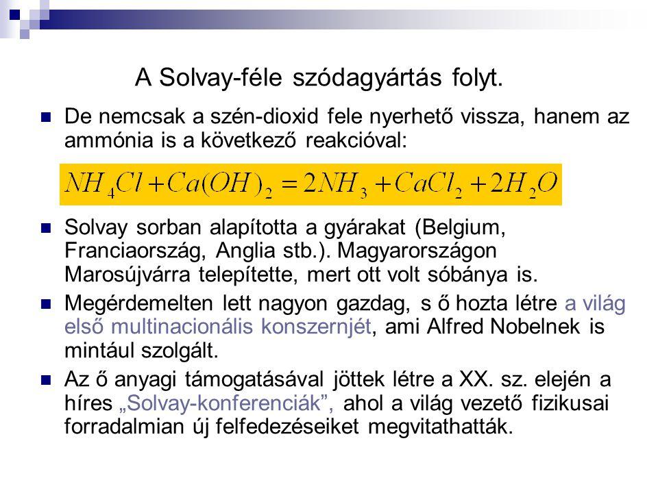 A Solvay-féle szódagyártás folyt. De nemcsak a szén-dioxid fele nyerhető vissza, hanem az ammónia is a következő reakcióval: Solvay sorban alapította