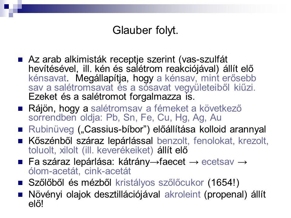 Glauber folyt. Az arab alkimisták receptje szerint (vas-szulfát hevítésével, ill. kén és salétrom reakciójával) állít elő kénsavat. Megállapítja, hogy
