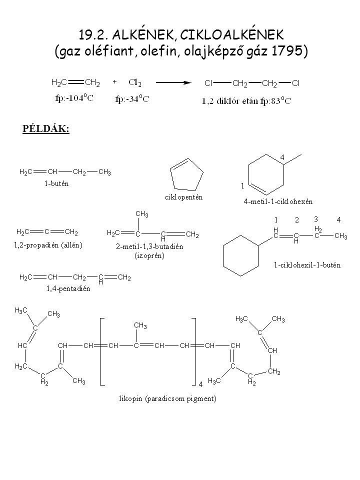 POLIMERIZÁCIÓ Poliaddició gyökös RR'AlapvegyületPolimer HHEtilénPolietilén HCH 3 PropilénPolipropilén HClVinil-kloridPVC HC 6 H 5 SztirolPolisztirol HOCOCH 3 Vinil-acetátPoli(vinil-acetát) Mechanizmus: A.Kationos [HF,H 2 SO 4 ]