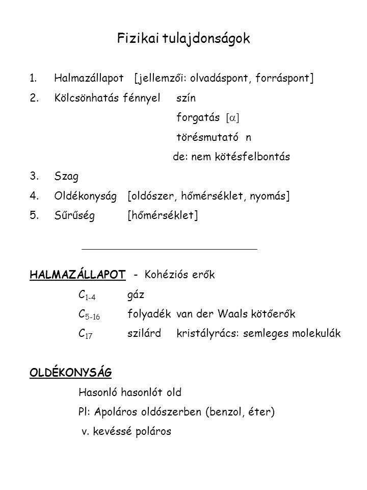 Fizikai tulajdonságok 1.Halmazállapot [jellemzői: olvadáspont, forráspont] 2.Kölcsönhatás fénnyel szín forgatás [  ] törésmutató n de: nem kötésfelbo