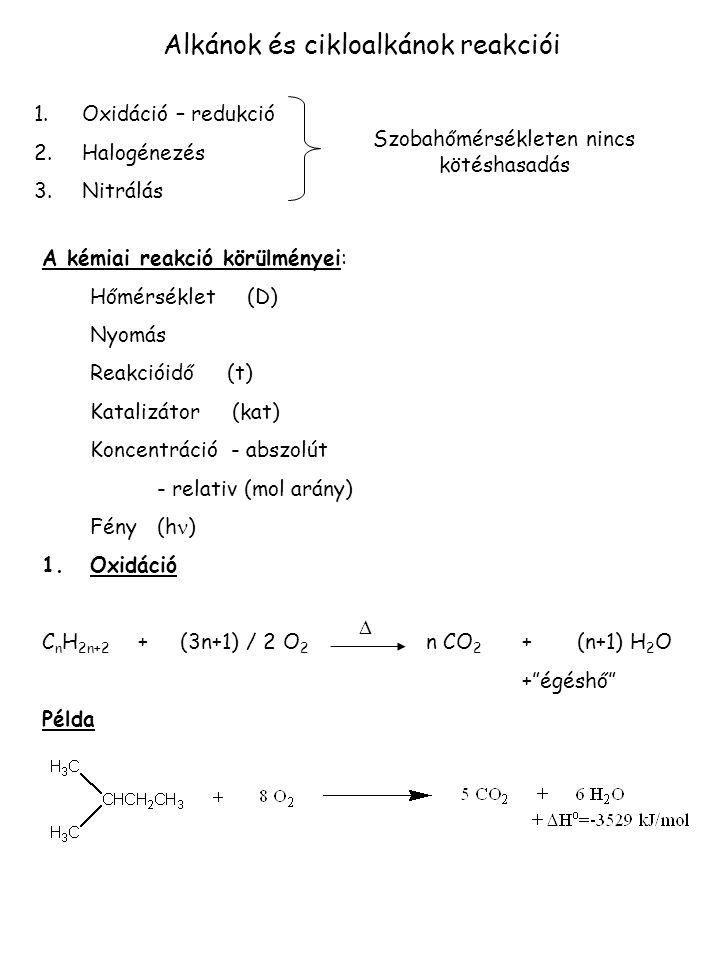 Alkánok és cikloalkánok reakciói 1.Oxidáció – redukció 2.Halogénezés 3.Nitrálás Szobahőmérsékleten nincs kötéshasadás A kémiai reakció körülményei: Hő