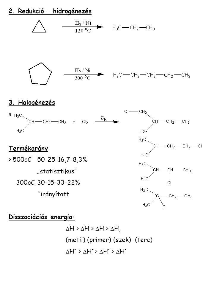 """2. Redukció – hidrogénezés 3. Halogénezés a Termékarány > 500oC50-25-16,7-8,3% """"statisztikus"""" 300oC30-15-33-22% ˇirányított Disszociációs energia:  H"""