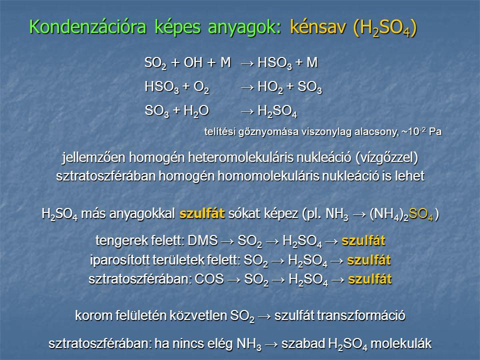 Kondenzációra képes anyagok: kénsav (H 2 SO 4 ) jellemzően homogén heteromolekuláris nukleáció (vízgőzzel) sztratoszférában homogén homomolekuláris nu