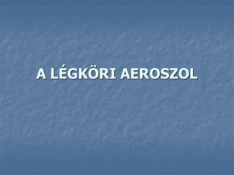 Aeroszol: gáznemű közeg és benne finoman diszpergált (eloszlott) szilárd vagy cseppfolyós részecskék együttes rendszere gáznemű közeg: levegő szilárd vagy cseppfolyós részecskék: aeroszol részecskék